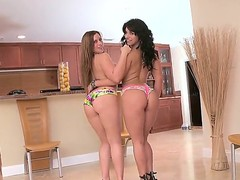 Turned on provocative pornstar bitches Bella Reese and Vanessa Lee with big tits and long crawl in high heels and colorful undies tease with their big asses all over the place.