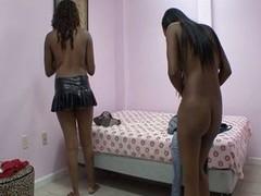 Gorgeous pussy toying ebony teens