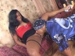 Perky ebony beauty enjoys riding her lover