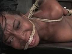 Luscious ebony slut gets tied up plus tortured