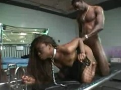 Black pet on collar and leash fucked by BBC